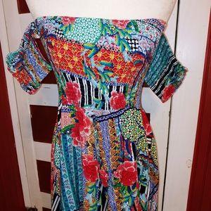 Jaase Off Shoulder Mini Floral Dress M